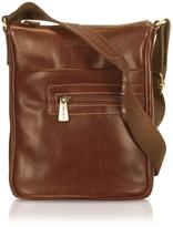 Chiarugi Handmade Brown Genuine Leather Vertical Cross-Body Bag