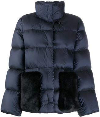 Fay Faux Fur Panel Puffer Coat