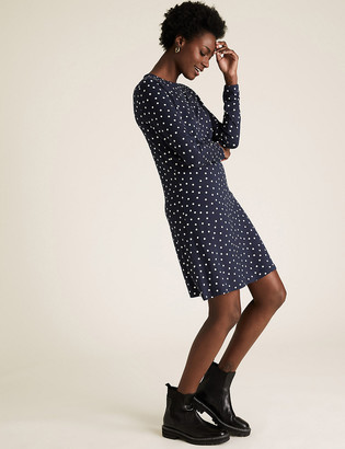 Marks and Spencer Jersey Polka Dot Knee Length Swing Dress