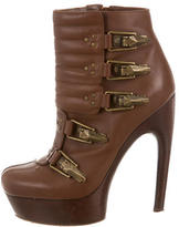 Alexander McQueen Leather Platform Ankle Boots