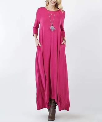 Lydiane Women's Maxi Dresses MAGENTA - Magenta Crewneck Three-Quarter Sleeve Shark-Bite Pocket Maxi Dress - Women