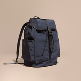 Burberry Leather Trim Lightweight Backpack, Blue