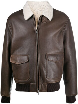 Eleventy Shearling Collar Leather Jacket