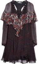 IRO Lace-Up Printed Ruffled Georgette Mini Dress