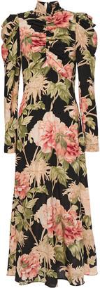 Zimmermann Ruched Floral-print Stretch-silk Midi Dress