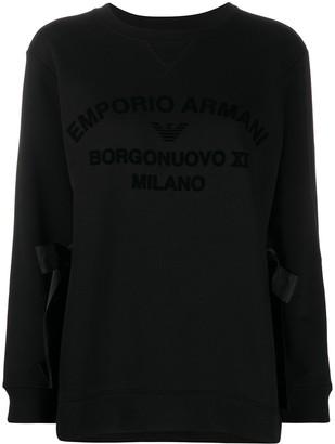 Emporio Armani Logo Print Side Tie Sweatshirt