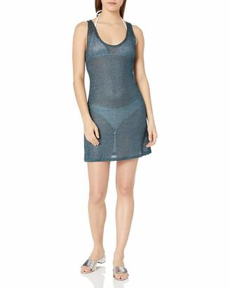 BCBGMAXAZRIA Women's Sheer Tank Racer Back Shimmer Dress Cover-Up