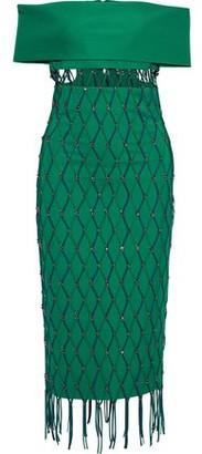 Cushnie Off-the-shoulder Layered Embellished Cady Midi Dress