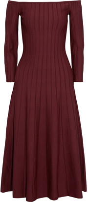 CASASOLA Off-the-shoulder Pleated Knitted Midi Dress