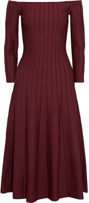 CASASOLA Off-the-shoulder Ribbed Stretch-knit Midi Dress