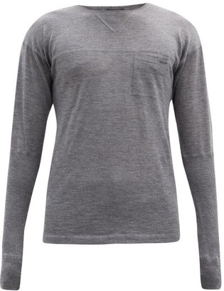 Prada Crew-neck Panelled Cashmere Sweater - Grey