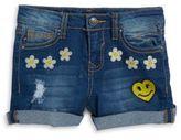 Vigoss Little Girl's Life is Happy Distressed Denim Shorts