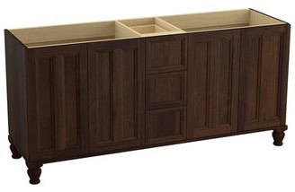 "Kohler Damask 72"" Vanity Base Only with Furniture Legs, 4 Doors and 3 Drawers, Split Top Drawer"