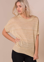 Missy Empire Lillie Gold Glitter Batwing Knitted Jumper