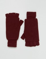 Asos Fingerless Gloves In Burgundy