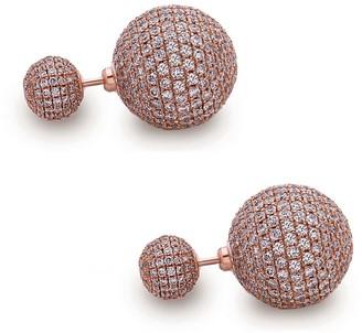 Artisan 18K Rose Gold Pave Diamond Beads Tribal Front & Back Earring