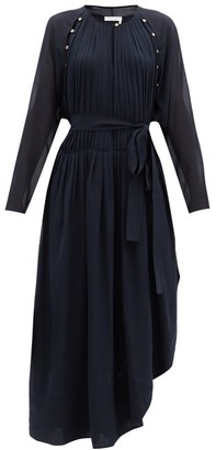 Chloé Cutout Pleated Silk-georgette Dress - Blue