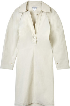 Bottega Veneta White V-neck Collar Midi Dress