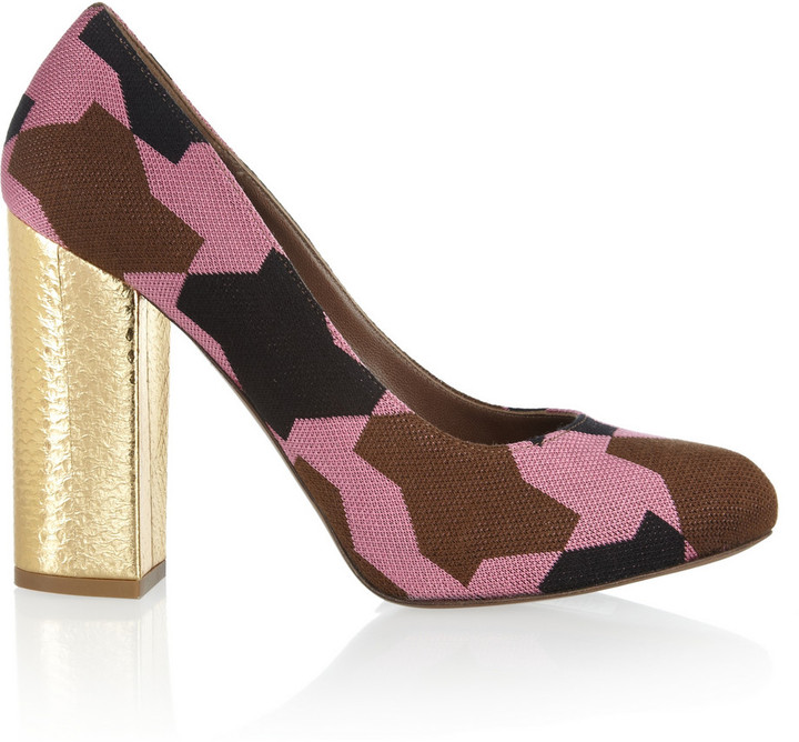 Marni Knit-covered leather pumps