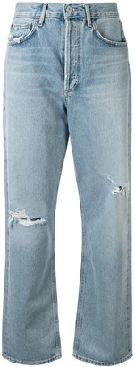 AGOLDE Captured distressed straight-leg jeans