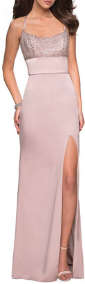 La Femme Sleeveless Column Gown with Beaded Top & Thigh-Slit
