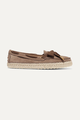 Tod's Gommino Bow-detailed Nubuck Espadrilles - Brown
