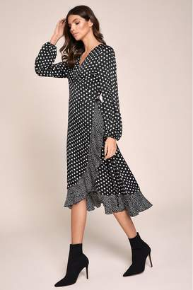 Lipsy Printed Wrap Dress - 6 - Black