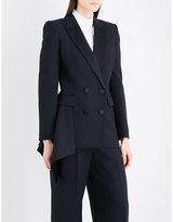 Alexander McQueen Draped-hem double-breasted wool-blend blazer