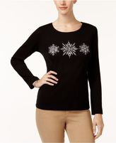 Karen Scott Cotton Embellished Graphic-Print Top, Created for Macy's
