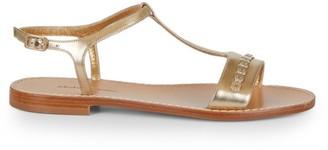 Salvatore Ferragamo Tremiti Embellished Metallic Leather T-Strap Sandals
