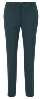BOSS Regular-fit trousers in virgin-wool twill with stretch