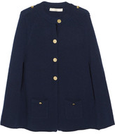 Vanessa Bruno Gaika Wool And Cashmere-blend Cape - Navy