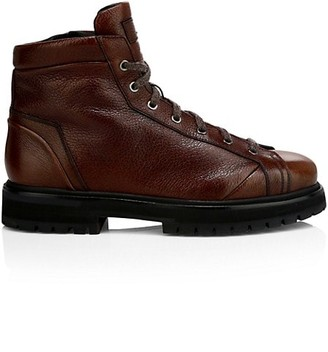 Santoni Lace-Up Leather Ankle Boots
