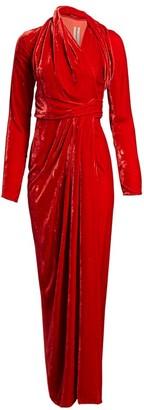 Rick Owens Draped Velvet Wrap Gown