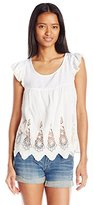Jolt Women's Short Sleeve Eyelet Scallop Tee