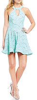 B. Darlin Choker Neckline Sequin Lace Skater Dress