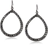 Yochi Colored Crystal Embellished Gunmetal Hoop Earrings