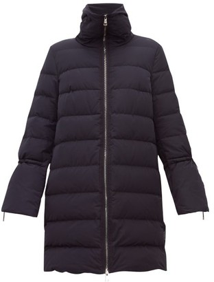 Moncler Belia Fluted-sleeve Quilted-down Coat - Womens - Navy