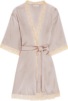 Mimi Holliday Lace-trimmed stretch-silk satin robe