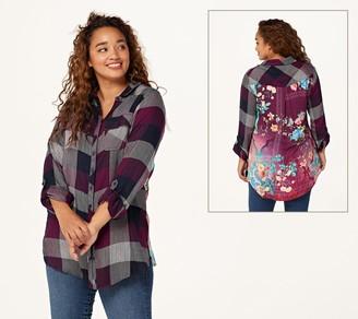 Tolani Collection Regular Plaid Tunic with Print Back
