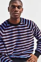 Lazy Oaf Blue Stripe Velour Crew Neck Sweatshirt