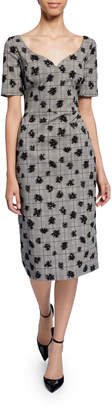 Jason Wu Collection Floral Plaid Sweetheart Midi Sheath Dress