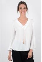 Molly Bracken Plain V-Neck Blouse with Long Sleeves