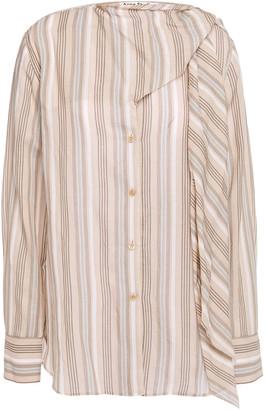Acne Studios Sue Tie-neck Striped Cotton-voile Blouse