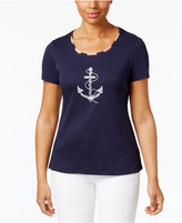 Karen Scott Glitter Anchor Graphic Cotton Top, Only at Macy's