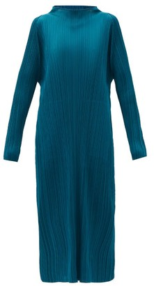 Pleats Please Issey Miyake High-neck Technical-pleated Midi Dress - Dark Blue