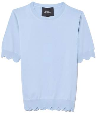 Marc Jacobs Short Sleeve Crew Neck Scallop Sweater in Pale Blue