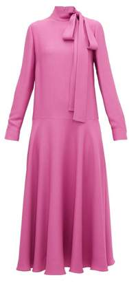 Valentino Tie Neck Dropped Waist Crepe Midi Dress - Womens - Pink