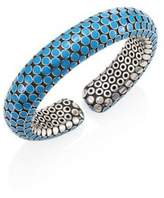 John Hardy Dot Small Sterling Silver Flex Cuff/Turquoise