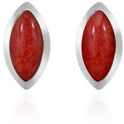 Aeravida Handmade Mystical Ocean Pointed Ovals with Stone Inlays Post Stud Earrings